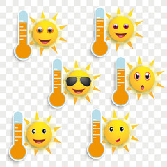 Obraz na Plexi Funny Sun Face Smileys Weather Icons Transparent