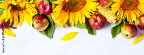 In de dag Zonnebloem Autumn background. Border of sunflower, corn and pears. Harvest holiday concept