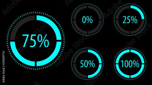 Cuadros en Lienzo Circular progress icon set. Vector illustration.