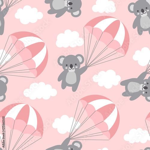 Seamless Koala Pattern Background, Happy cute koala flying in the sky between co Tableau sur Toile