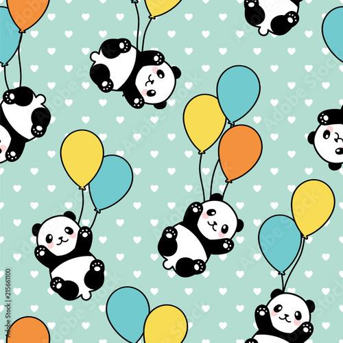 bezszwowy-panda-wzoru-tlo-szczesliwy-sliczny-pandy-latanie-w-niebie-miedzy