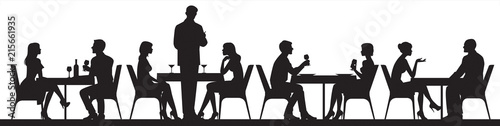 Fototapeta Panorama of silhouettes of people eating food and drinkers in a cafe or restaurant vector illustration obraz