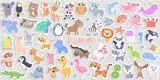 Fototapeta Fototapety na ścianę do pokoju dziecięcego - Big set of cute cartoon animal stickers vector illustration. Flat design.