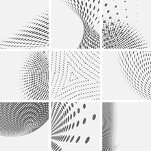 Set Of Dotted Abstract Forms. Vector Illustration.