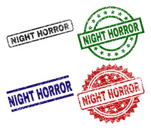NIGHT HORROR Seal Imprints With Damaged Surface. Black, Green,red,blue Vector Rubber Prints Of NIGHT HORROR Label With Dirty Surface. Rubber Seals With Circle, Rectangle, Rosette Shapes.