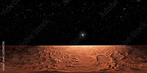 Poster Marron chocolat 360 Equirectangular projection of Mars, HDRI environment map. Spherical panorama.