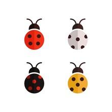 Flat Vector Set Of Ladybug. Colored Beetle Design Template
