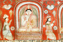 Ancient Graffiti About Historical People Worshiping Buddha, On Fresco Of The 14th Century Temple. Sri Lanka Painting.
