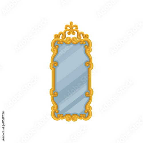 Obraz Large rectangular wall mirror with golden ornate frame. Flat vector element for home interior - fototapety do salonu
