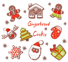 Flat Vector Set Of Christmas Gingerbreads In Different Shapes. Tasty Biscuit Cookies Decorated With Colored Icing. Holiday Sweets