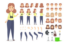 Pretty Photographer Character Set For Animation
