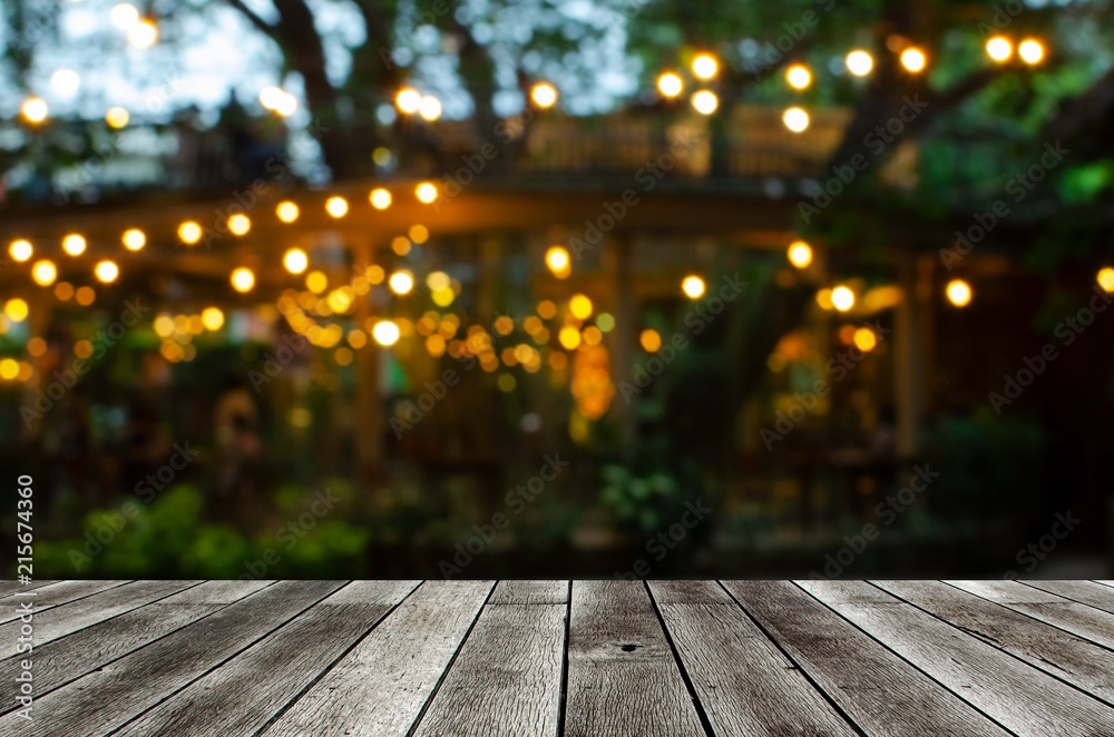 Fototapety, obrazy: empty modern wooden terrace with abstract night light bokeh of night festival in garden, copy space for display of product or object presentation, vintage color tone