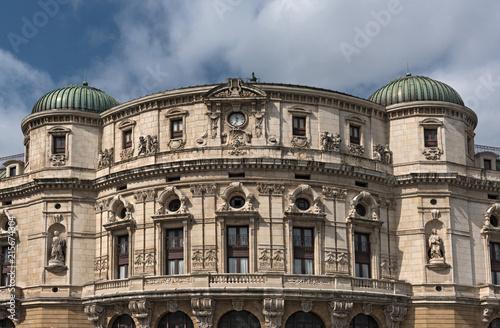 Fotobehang Theater Upper facade of the Teatro Arriaga, theater Arriaga, Bilbao, Spain