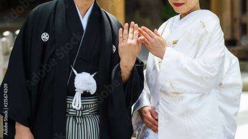 Japanese couple show wedding ring