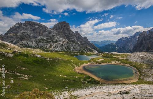 Fotobehang Meer / Vijver Laghi dei Piani a Sesto nei pressi delle Tre Cime di Lavaredo, Dolomiti Italiane
