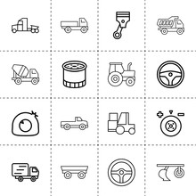 Set Of 16 Truck Outline Icons