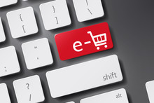 E-shop Icon Vector. Button Keyboard With E-shop Text.