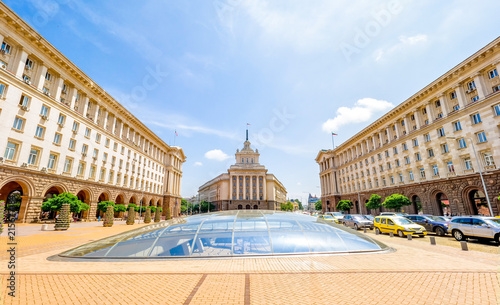 Cityscape of Sofia, Bulgaria on a sunny day. National Assembly building .