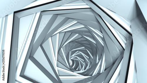 Abstract technology tunnel 3D render