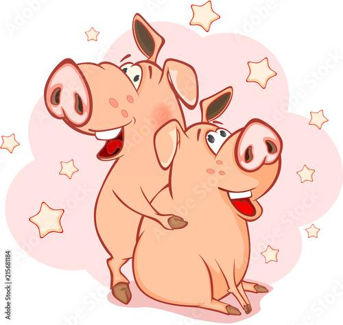 Foto op Plexiglas Babykamer Illustration of a Cute Pig. Cartoon Character
