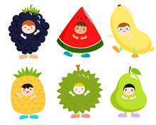 Set Of Kids In Cute Fruit Costumes Vector.