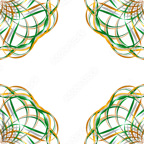 Pattern Green Orange Ribbons Isolated On A White Background