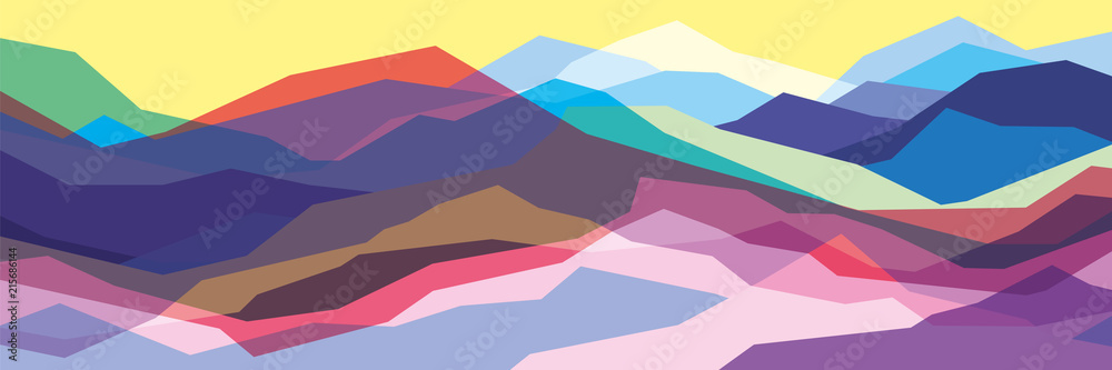Fototapeta Color mountains, translucent waves, abstract glass shapes, modern background, vector design Illustration for you project