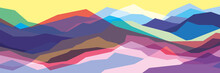 Color Mountains, Translucent Waves, Abstract Glass Shapes, Modern Background, Vector Design Illustration For You Project