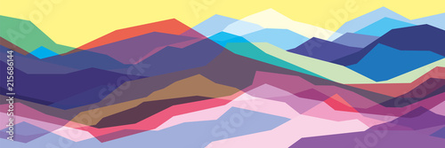 Color mountains, translucent waves, abstract glass shapes, modern background, vector design Illustration for you project - 215686144