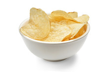 Delicious Golden Potato Chips In A White Bowl Isolated On White Background.