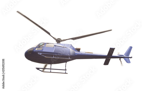helicopter flying on white background