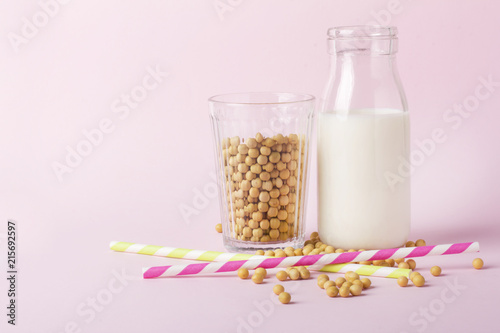 Soy products on pink background