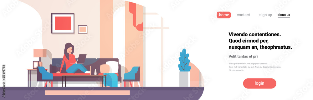 Fototapety, obrazy: woman using laptop living room interior home modern apartment female relax concept flat horizontal banner copy space vector illustration