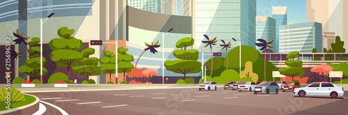 Cartoon voitures City car parking over skyscraper buildings modern cityscape background horizontal banner flat vector illustration