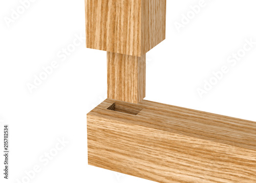 Fototapeta 3D realistic render of boards with woodworking tenon inserted into a mortis