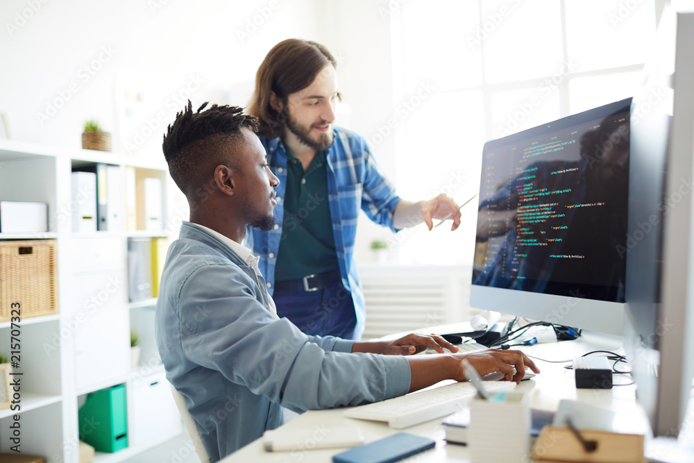 Fototapeta Positive skilled young multiethnic coders in casual clothing discussing computer language: smiling bearded man pointing at computer monitor while explaining web code to African colleague in office