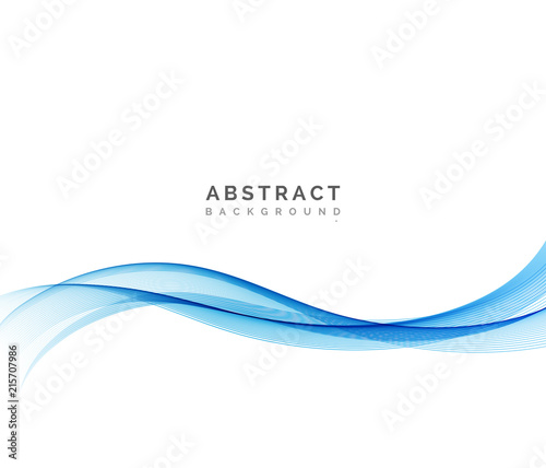 Fotografie, Obraz  Abstract vector background, blue wavy