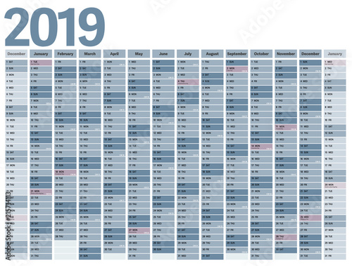 anual planner calendar 2019 with us federal holidays