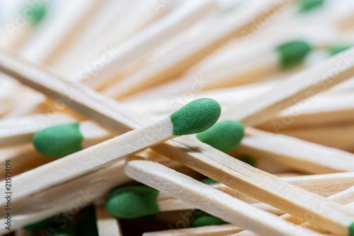 Fotografie, Obraz  Up close macro shot of pile of matchsticks