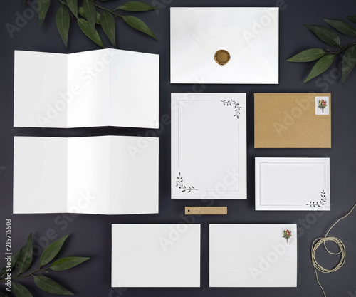 Blank Destination Travel Wedding Invitation Flat Lay
