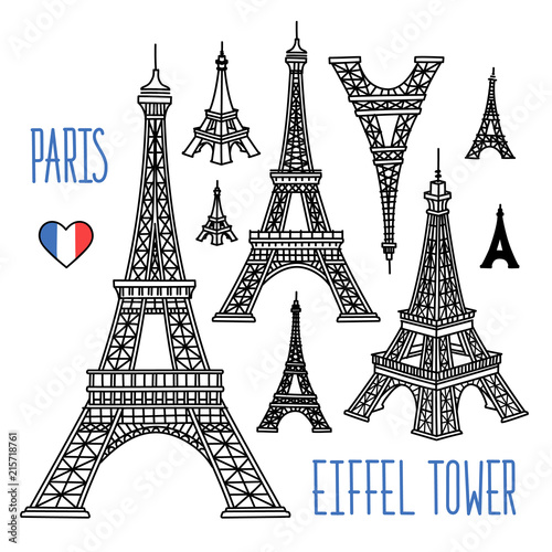 Fotografía Eiffel Tower freehand vector drawings