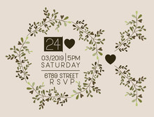 Invitation Card With Heart And Floral Crown Vector Illustration Design