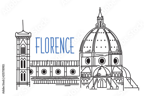 Fotografia Sketch of Florence Cathedral Santa Maria del Fiore (Saint Mary of the Flower) in Italy