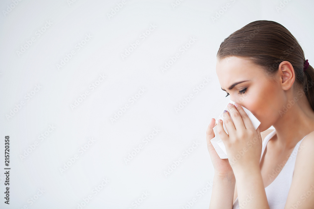 Fototapety, obrazy: Flu and Sick Woman. Sick Woman Using Paper Tissue, Head Cold Problem