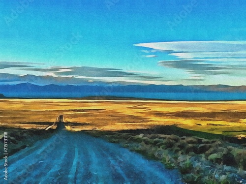 Foto op Aluminium Blauw Hand drawing watercolor art on canvas. Artistic big print. Original modern painting. Acrylic dry brush background. Beautiful landscape. Charming view of the riddles of nature.