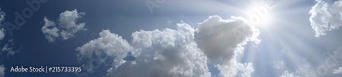 Poster de jardin Ciel Panoramic Blue sky with clouds and sun place for your text
