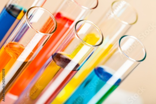 Photo  Closeup of Test Tubes with Liquid
