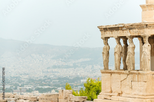 Poster Historisch mon. Porch with world famous Caryatids in Erechtheion on Acropolis Hill, Athens, Greece