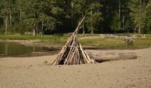 Driftwood Tee Pee On Beach