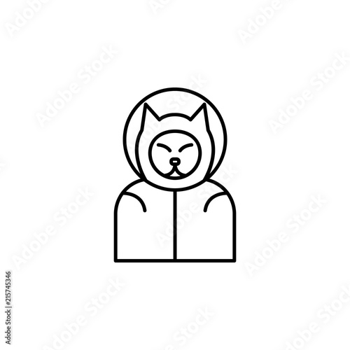 Obraz dog cosmonaut icon. Element of space for mobile concept and web apps illustration. Thin line icon for website design and development, app development - fototapety do salonu